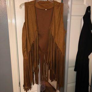 Other - Tan suede fringe vest never worn, size large